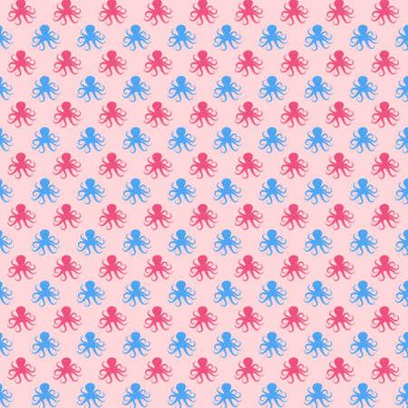 Vector Seamless Pattern of Octopus Illustration