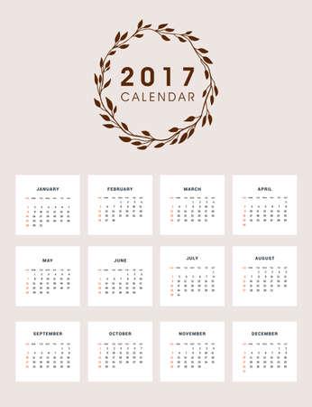 2017 Calendar Design with Wreath 일러스트
