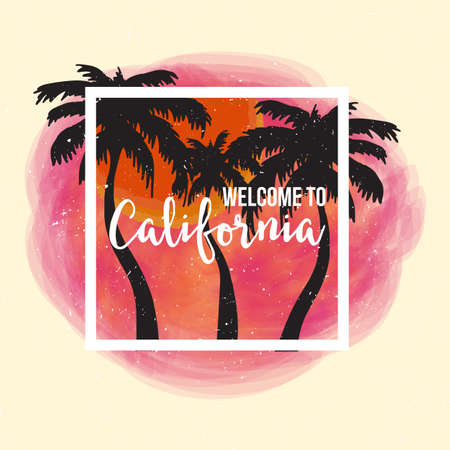 la: Welcome to California. Pink Background with Palm and Frame