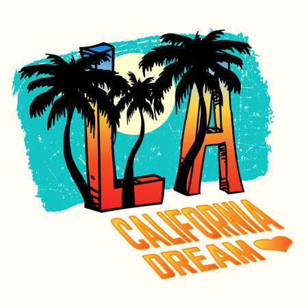 California Dream, Los Angeles Background with Palm Trees