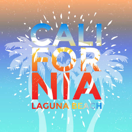 California Dream, Laguna Beach Background with Palm Trees Stock Illustratie