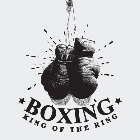 Vintage Boxing Gloves Vector Illustration