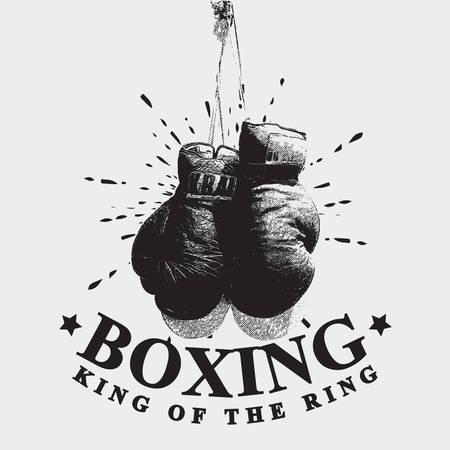 Vintage Boxing Gloves Vector Illustration Zdjęcie Seryjne - 71543750