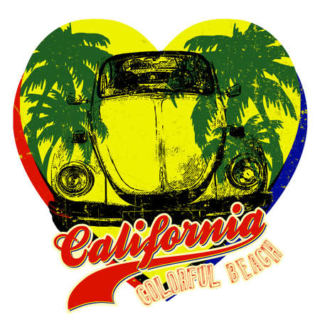 Vintage Car with Palm Tree. Summer California Yellow Hearts Graphic Designer