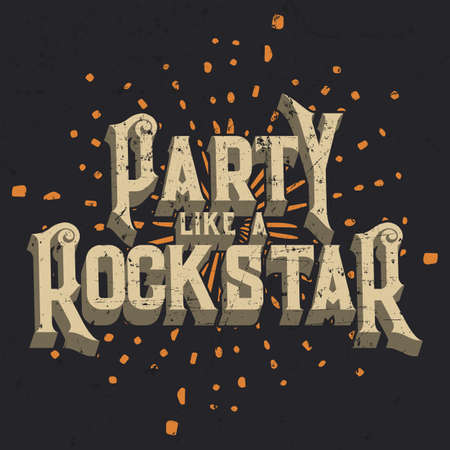 Party Like a Rockstar T-shirt Graphic Design, Vector Illustration