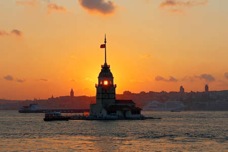 Sunset on Maiden's Tower in Istanbul, Turkey.