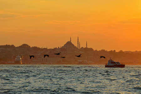 Sunset on the Bosphorus in Istanbul, Turkey. 版權商用圖片