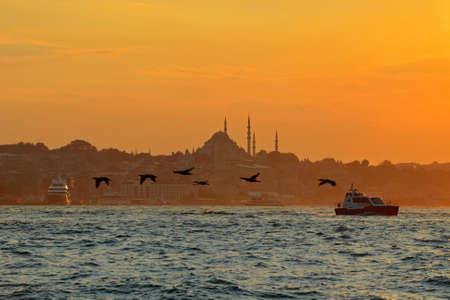 Sunset on the Bosphorus in Istanbul, Turkey. Stock Photo