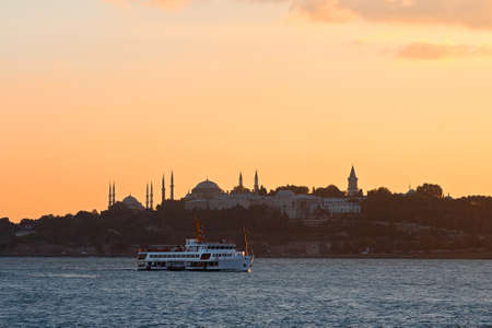 Sunset on Blue Mosque in Istanbul, Turkey.