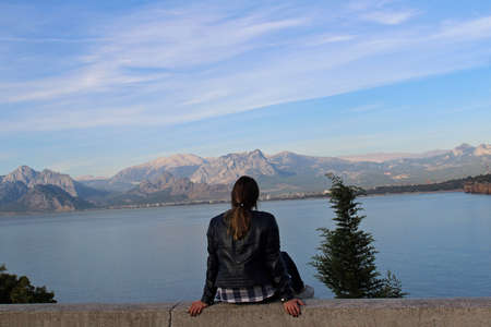 The girl seeing landscape of Antalya, Turkey.