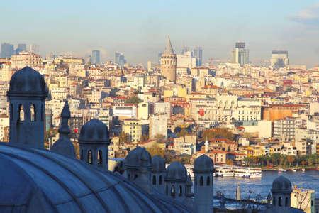 Galata Tower view from Suleymaniye Mosque in Istanbul, Turkey.