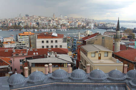 Galata Tower view from Suleymaniye Mosque in Istanbul, Turkey.