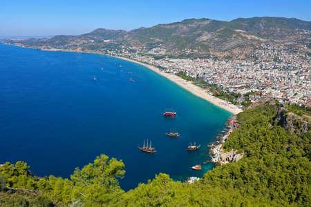 Alanya Cleopatra Beach and Marina view from Alanya Castle in Antalya, Turkey. 版權商用圖片