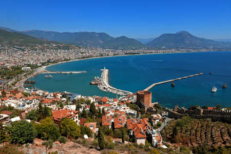 Red Tower and Marina view from Alanya Castle in Antalya, Turkey.