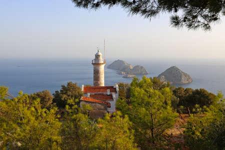 Lighthouse at Gelidonya cape in Mediterranean sea, Antalya. 版權商用圖片