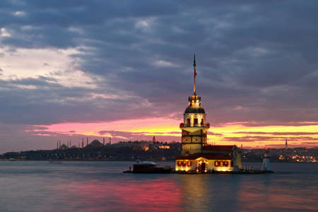 Sunset on Maidens Tower in Istanbul, Turkey.