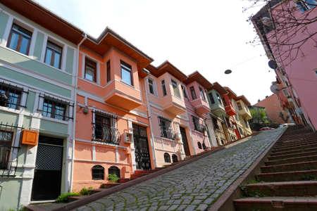 Colorful Old city Balat in Istanbul, Turkey. 版權商用圖片