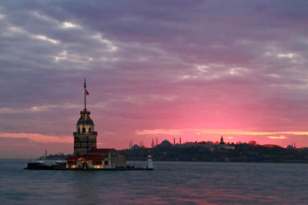Sunset on Maiden's Tower in historical city Istanbul, Turkey.