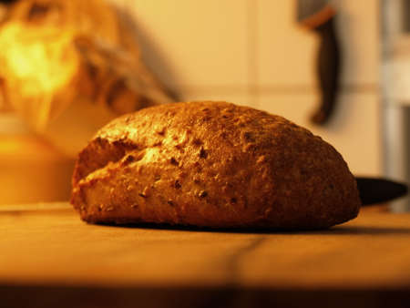 recently: Recently cooked bread with grains .