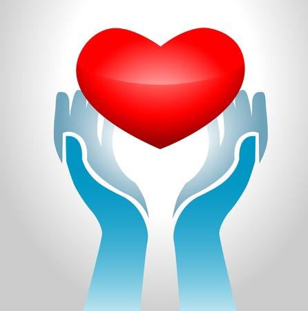 gentillesse: Image de mains maintient-il cardiaque en arri�re-plan clair exclusif Illustration