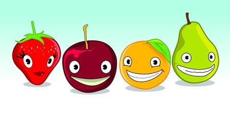 image of some fruits with funny face in it Illustration
