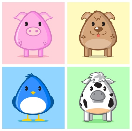 image of four animals in simple cute style on nice soft color background