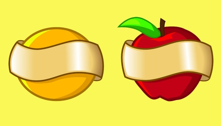 desirable: image of fruits covered with banner that can be filled with any desirable word or text Illustration
