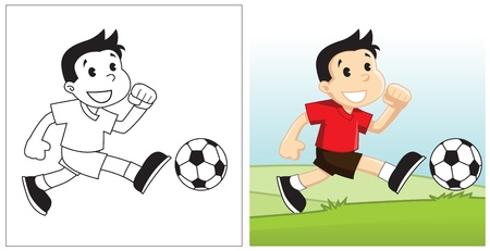 Image of boy playing soccer happily in wide green field under the clear blue sky Illustration