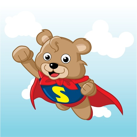 cartoon superhero: Image of a cute bear. Suitable for product mascot or just web usage