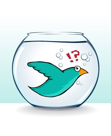 swimming bird: image of nice cute cartoon bird flying in fish bowl. Wrong place in wrong time