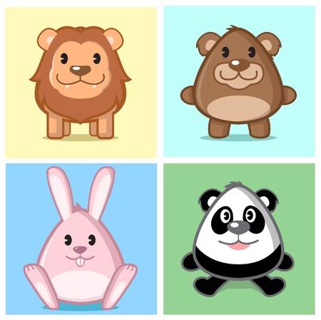 Imagen de animal (Le�n, oso, conejo, panda) en el estilo de dibujos animados de caricatura con color suave y lindo en Niza fondo coloreado Foto de archivo - 9610236