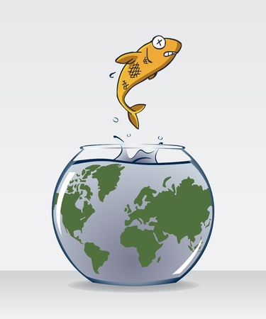 analogy: Image of fish jump out of fish bowl with dirty water and world map on it. The fish bowl is an analogy of dirty earth