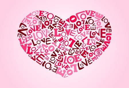collage alphabet: Collage of love words scattered around making heart shape. All color in global color Illustration