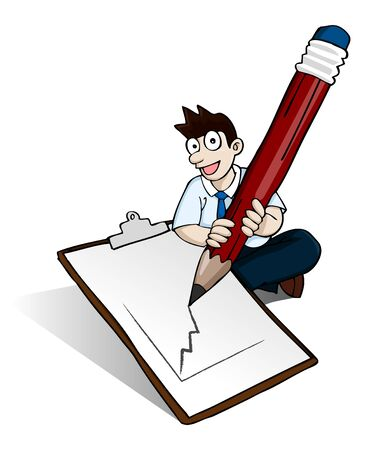 image of man holding big pencil drawing graphic on paper note on his feet in white background. Of course you can put any picture or word into the paper Illustration