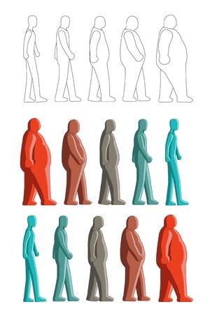 obesidad: Imagen de cambio de la figura humana entre grasa a delgado. Todo el color utilizar color global y se puede editar con facilidad Vectores