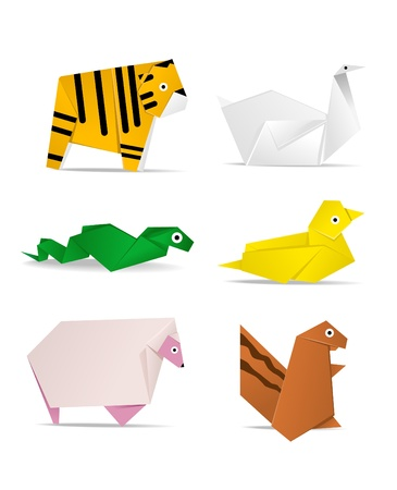 snake origami: hi-detail vector of origami of animals Illustration
