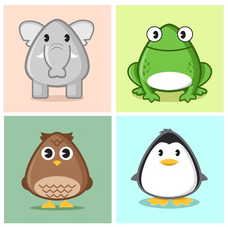 Image of animal (elephant, frog, owl, penguin) in caricature cartoon style with soft and cute color on nice colored background