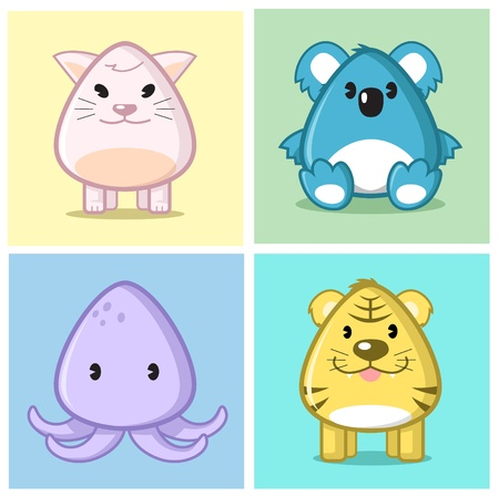 Image of animal (cat, koala, squid, tiger) in caricature cartoon style with soft and cute color on nice colored background Illustration