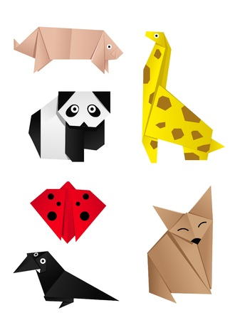 colored paper: hi-detail vector of origami of animals Illustration