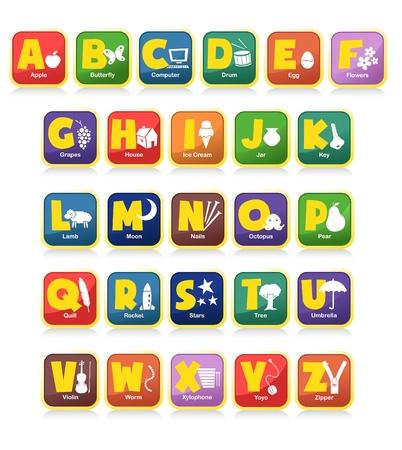 complète 26 vecteur de l'alphabet avec les objets initiaux. Convient pour l'affiche des enfants ou des jouets Vecteurs