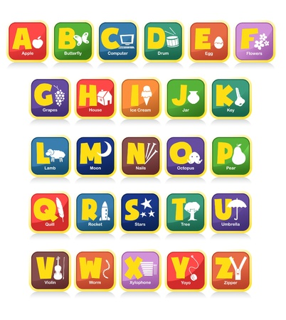 key words  art: complete 26 vector of alphabet along with the initial objects. Suitable for children poster or toys