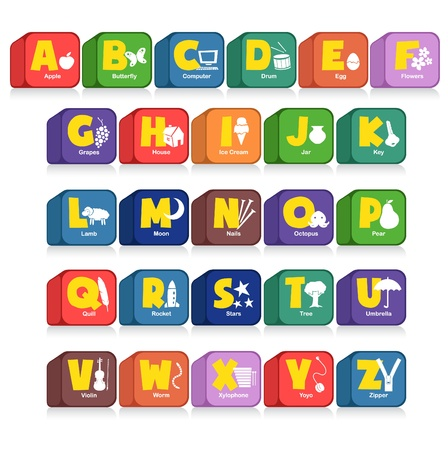Another cube of 26 alphabet along with the initial objects. Suitable for children poster or toys Stock Vector - 9716737