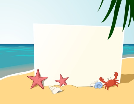 starfish beach: Vector of empty writable board with beach theme as background
