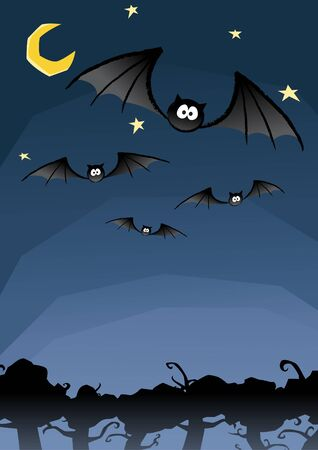 Vector of group of bats flying in the night sky with the tree and moon background Vector