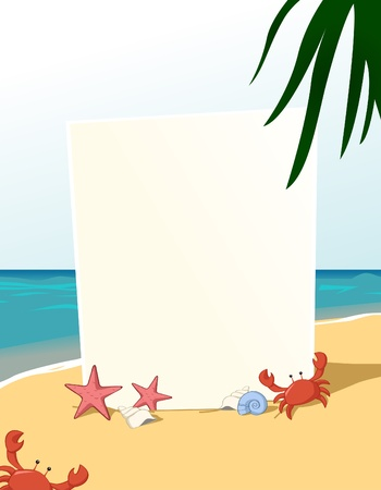 Summer theme vertical blank board Vector