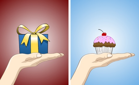 Hand facing upward with gift and cupcake on it. All items are in separated layers, feel free to put anything on the hand