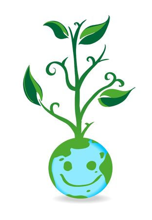 Vector of world globe growing green plant on the head