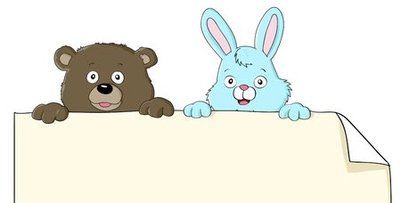 Set of two cartoon animals holding blank paper Vector