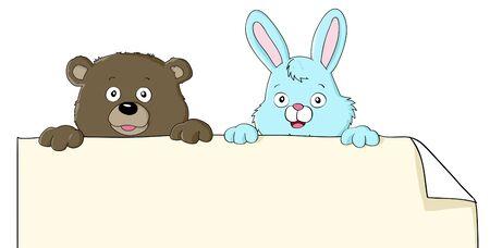 Set of two cartoon animals holding blank paper Illustration
