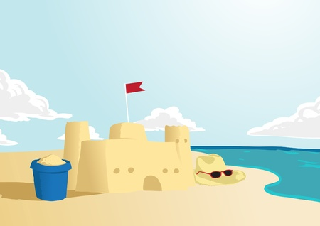Vector of sand castle with beach background with space for text Vector